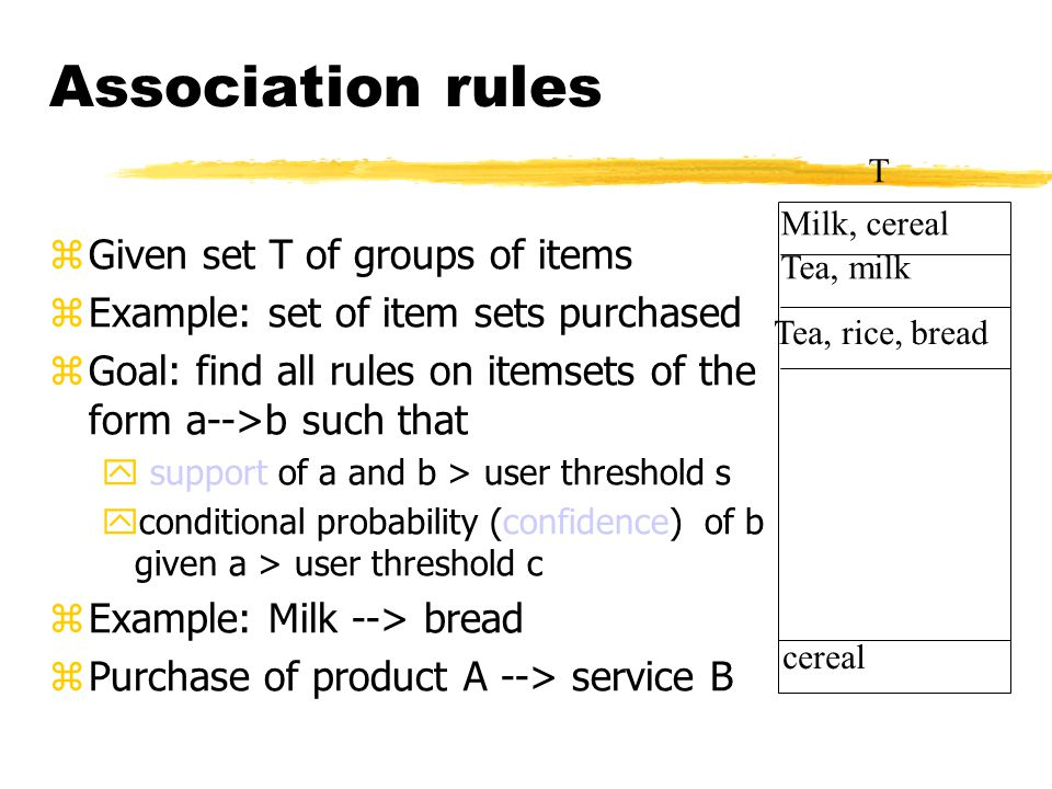 Association rules zGiven set T of groups of items zExample: set of item sets purchased zGoal: find all rules on itemsets of the form a-->b such that y support of a and b > user threshold s yconditional probability (confidence) of b given a > user threshold c zExample: Milk --> bread zPurchase of product A --> service B Milk, cereal Tea, milk Tea, rice, bread cereal T