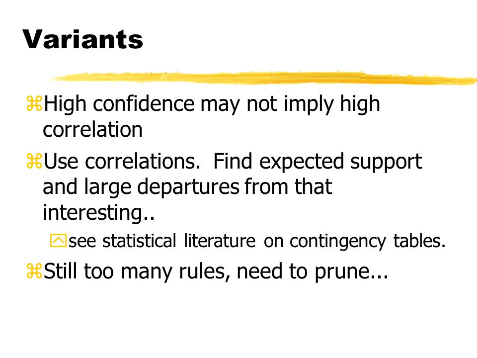 Variants zHigh confidence may not imply high correlation zUse correlations.