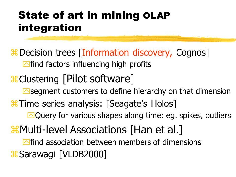 State of art in mining OLAP integration zDecision trees [Information discovery, Cognos] yfind factors influencing high profits zClustering [Pilot software] ysegment customers to define hierarchy on that dimension zTime series analysis: [Seagate's Holos] yQuery for various shapes along time: eg.