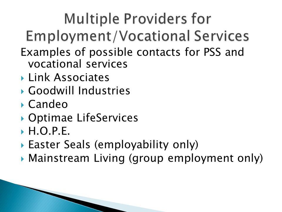 Examples of possible contacts for PSS and vocational services  Link Associates  Goodwill Industries  Candeo  Optimae LifeServices  H.O.P.E.