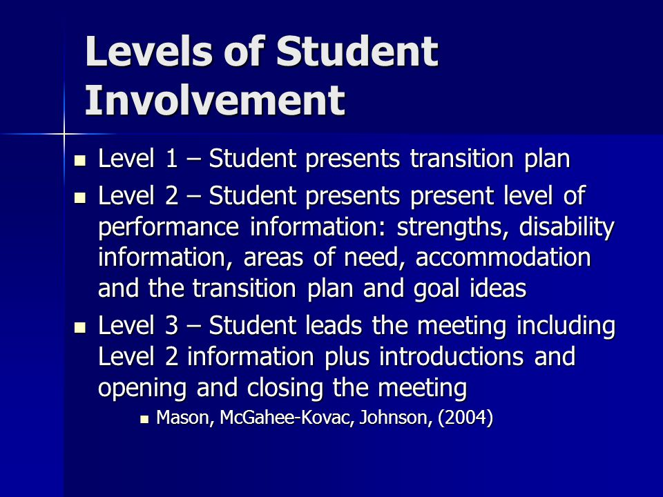 Levels of Student Involvement Level 1 – Student presents transition plan Level 1 – Student presents transition plan Level 2 – Student presents present
