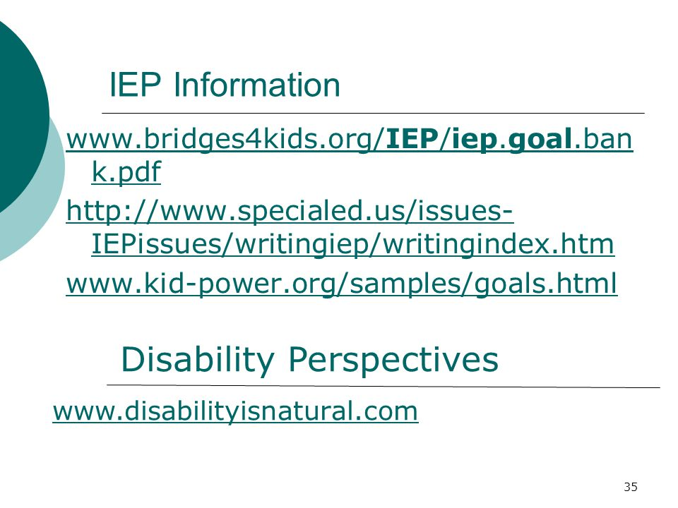 35 IEP Information www.bridges4kids.org/IEP/iep.goal.ban k.pdf http://www.specialed.us/issues- IEPissues/writingiep/writingindex.htm www.kid-power.org/samples/goals.html Disability Perspectives www.disabilityisnatural.com