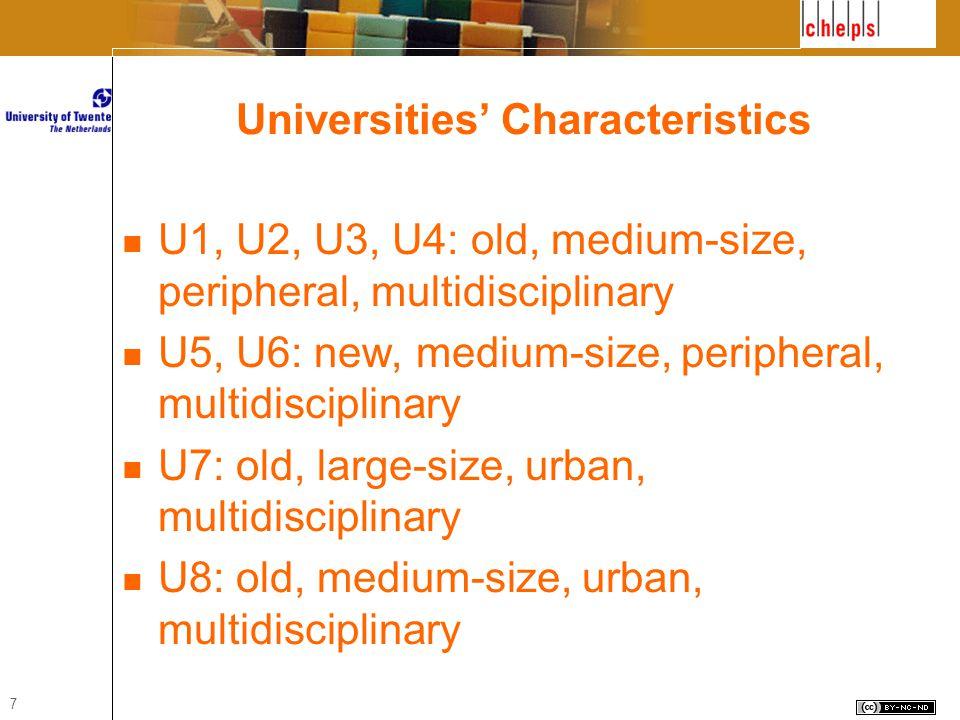 7 Universities' Characteristics U1, U2, U3, U4: old, medium-size, peripheral, multidisciplinary U5, U6: new, medium-size, peripheral, multidisciplinary U7: old, large-size, urban, multidisciplinary U8: old, medium-size, urban, multidisciplinary