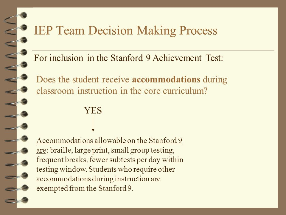 IEP Team Decision Making Process For inclusion in the Stanford 9 Achievement Test: Does the student receive accommodations during classroom instruction in the core curriculum.