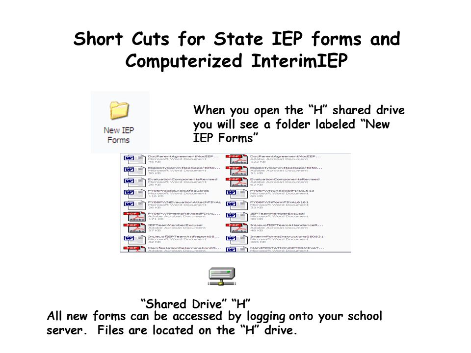 Short Cuts for State IEP forms and Computerized InterimIEP All new forms can be accessed by logging onto your school server.