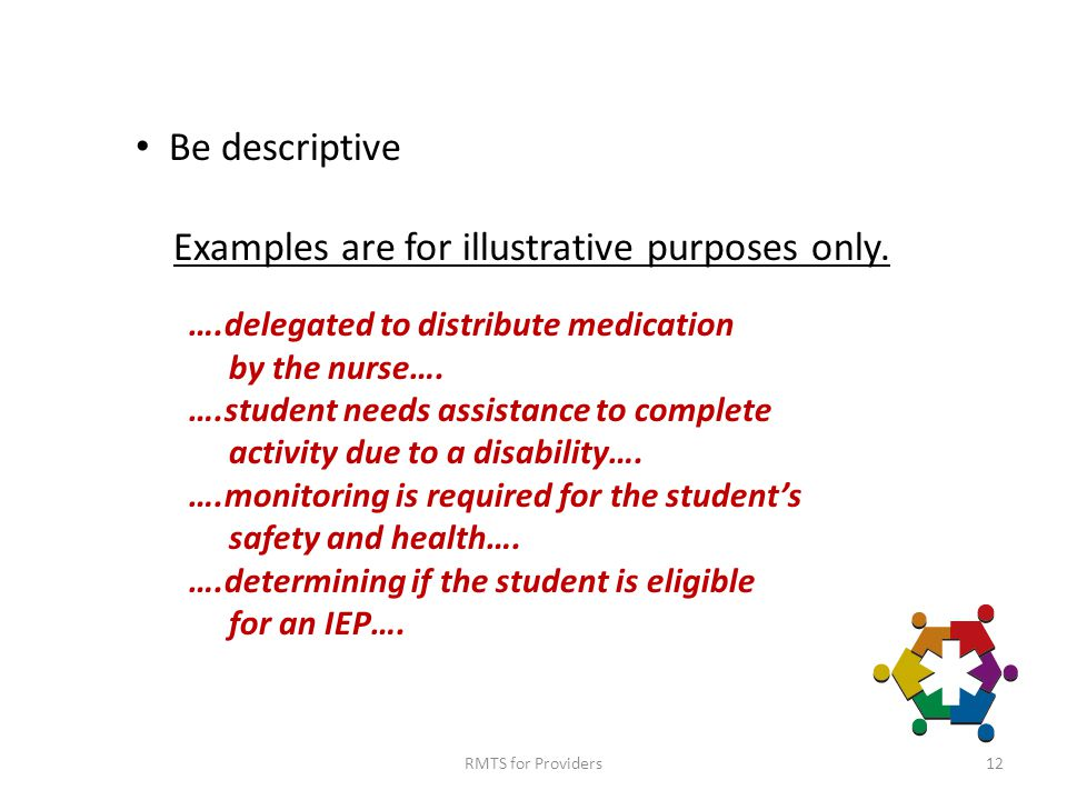 RMTS for Providers12 Be descriptive Examples are for illustrative purposes only.