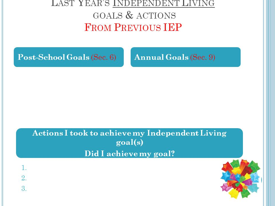 L AST Y EAR ' S I NDEPENDENT L IVING GOALS & ACTIONS F ROM P REVIOUS IEP Post-School Goals (Sec.