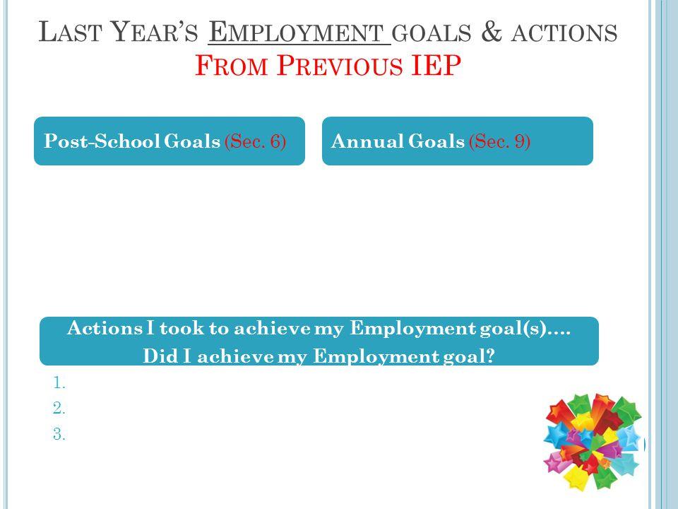 L AST Y EAR ' S E MPLOYMENT GOALS & ACTIONS F ROM P REVIOUS IEP Post-School Goals (Sec.