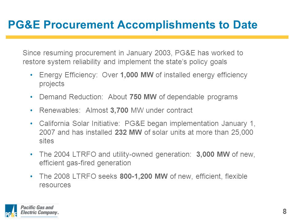 8 PG&E Procurement Accomplishments to Date Since resuming procurement in January 2003, PG&E has worked to restore system reliability and implement the state's policy goals Energy Efficiency: Over 1,000 MW of installed energy efficiency projects Demand Reduction: About 750 MW of dependable programs Renewables: Almost 3,700 MW under contract California Solar Initiative: PG&E began implementation January 1, 2007 and has installed 232 MW of solar units at more than 25,000 sites The 2004 LTRFO and utility-owned generation: 3,000 MW of new, efficient gas-fired generation The 2008 LTRFO seeks 800-1,200 MW of new, efficient, flexible resources