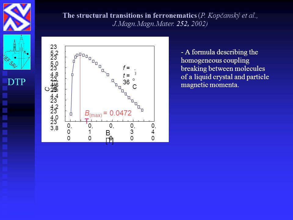 The structural transitions in ferronematics (P. Kopčanský et al., J.Magn.Magn.Mater. 252, 2002) DTP - A formula describing the homogeneous coupling br