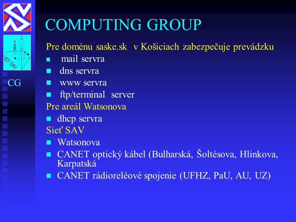 COMPUTING GROUP Pre doménu saske.sk v Košiciach zabezpečuje prevádzku mail servra dns servra www servra ftp/terminal server Pre areál Watsonova dhcp s
