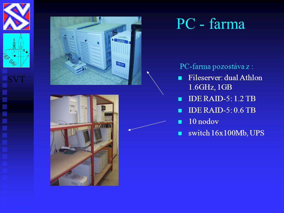 PC - farma PC-farma pozostáva z : Fileserver: dual Athlon 1.6GHz, 1GB IDE RAID-5: 1.2 TB IDE RAID-5: 0.6 TB 10 nodov switch 16x100Mb, UPS SVT