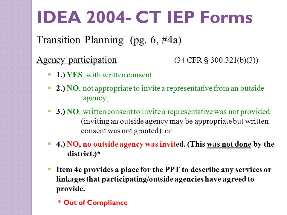 IDEA 2004- CT IEP Forms Transition Planning (pg.