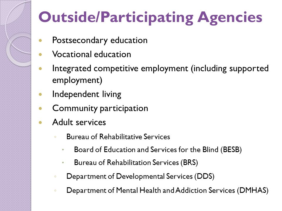 Outside/Participating Agencies Postsecondary education Vocational education Integrated competitive employment (including supported employment) Independent living Community participation Adult services ◦ Bureau of Rehabilitative Services  Board of Education and Services for the Blind (BESB)  Bureau of Rehabilitation Services (BRS) ◦ Department of Developmental Services (DDS) ◦ Department of Mental Health and Addiction Services (DMHAS)