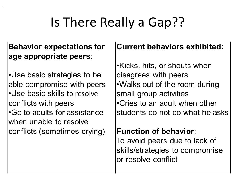 Is There Really a Gap?? Behavior expectations for age appropriate peers: Use basic strategies to be able compromise with peers Use basic skills to res