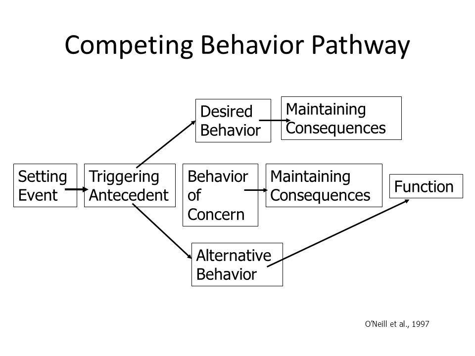 Competing Behavior Pathway Desired Behavior Maintaining Consequences Setting Event Triggering Antecedent Behavior of Concern Maintaining Consequences Function Alternative Behavior O'Neill et al., 1997