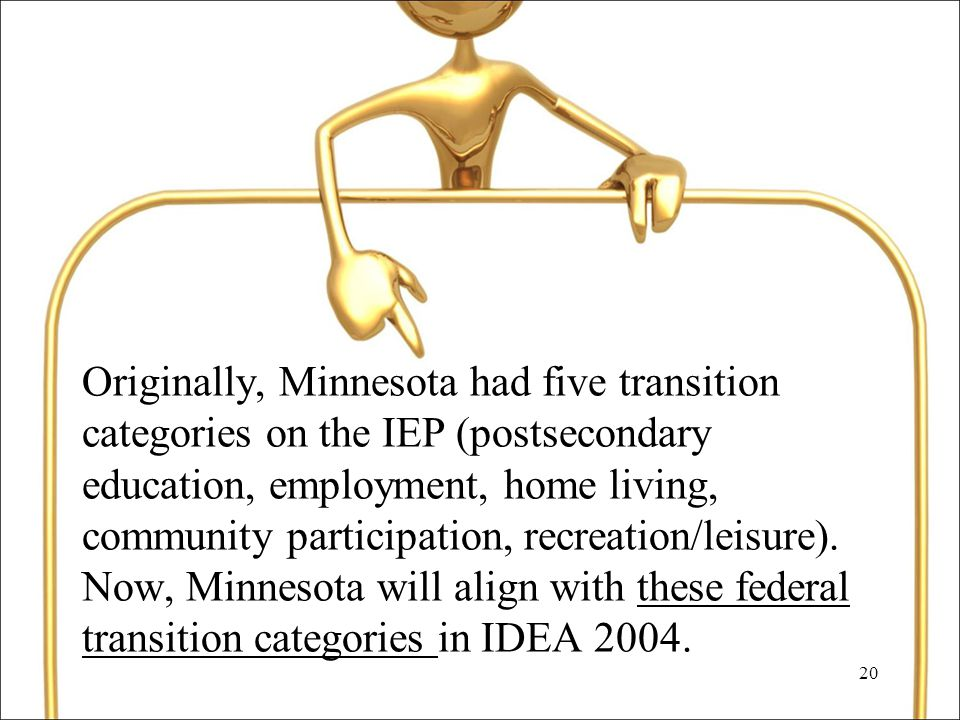 20 Originally, Minnesota had five transition categories on the IEP (postsecondary education, employment, home living, community participation, recreation/leisure).