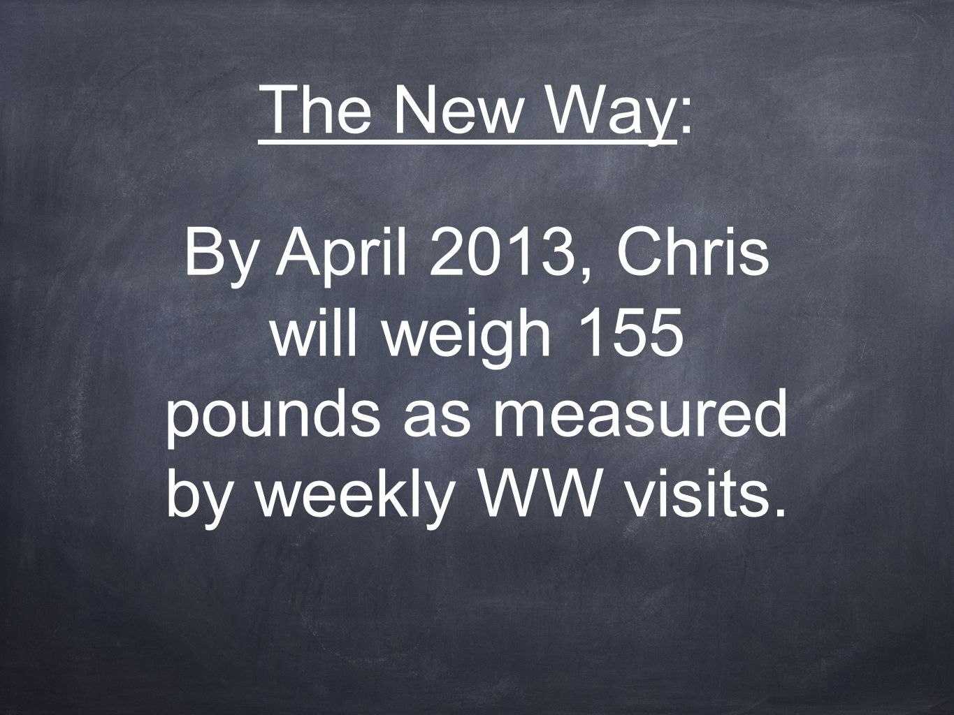 The New Way: By April 2013, Chris will weigh 155 pounds as measured by weekly WW visits.