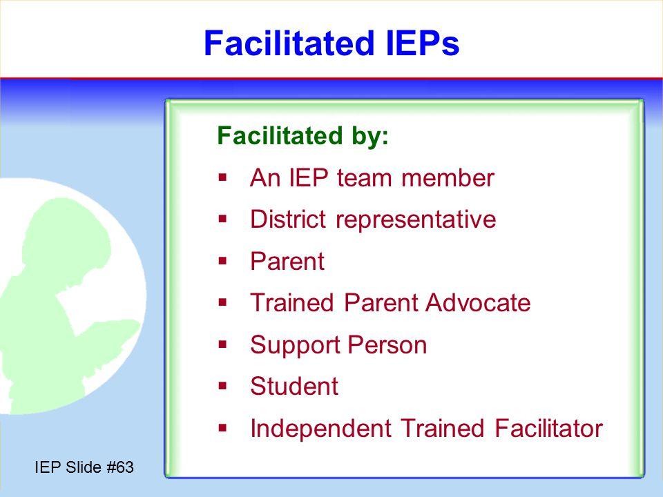 IEP Slide #62 Conflict Resolution Options