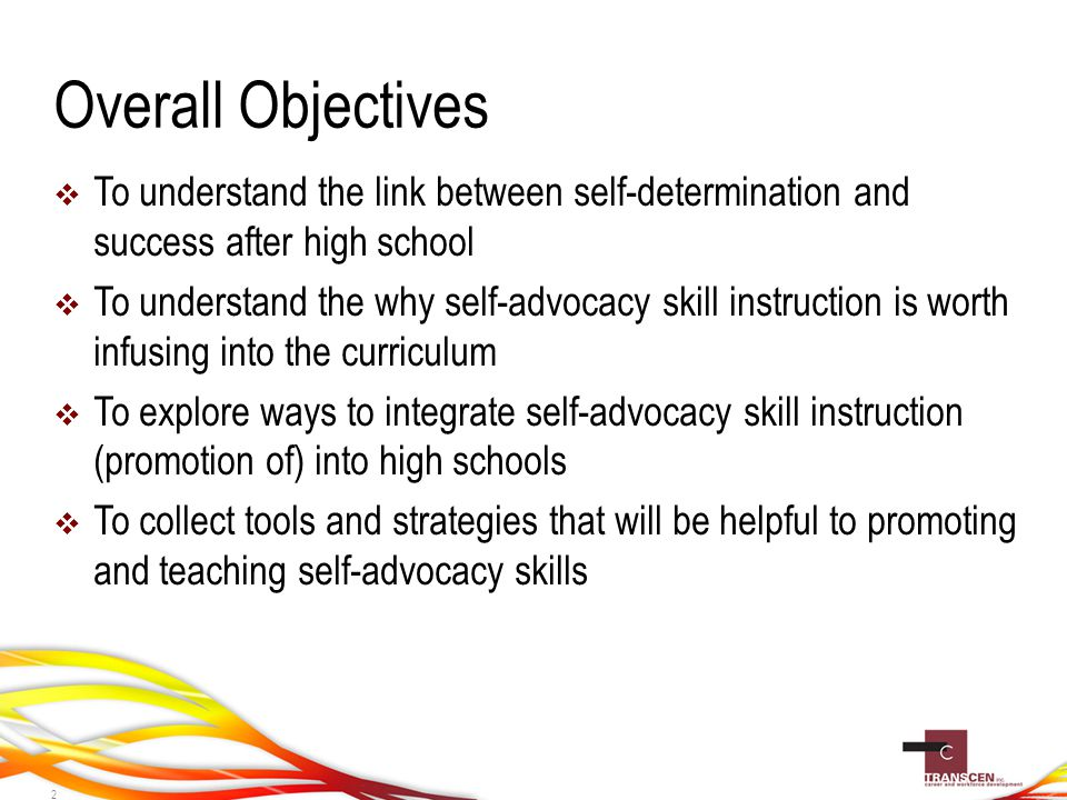 Overall Objectives  To understand the link between self-determination and success after high school  To understand the why self-advocacy skill instruction is worth infusing into the curriculum  To explore ways to integrate self-advocacy skill instruction (promotion of) into high schools  To collect tools and strategies that will be helpful to promoting and teaching self-advocacy skills 2