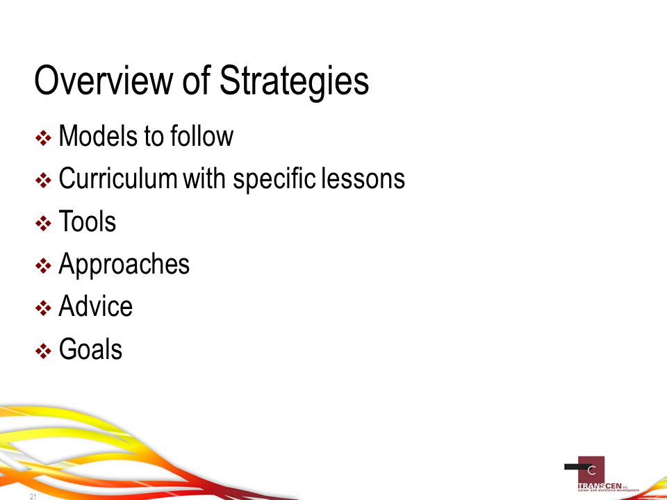 Overview of Strategies  Models to follow  Curriculum with specific lessons  Tools  Approaches  Advice  Goals 21