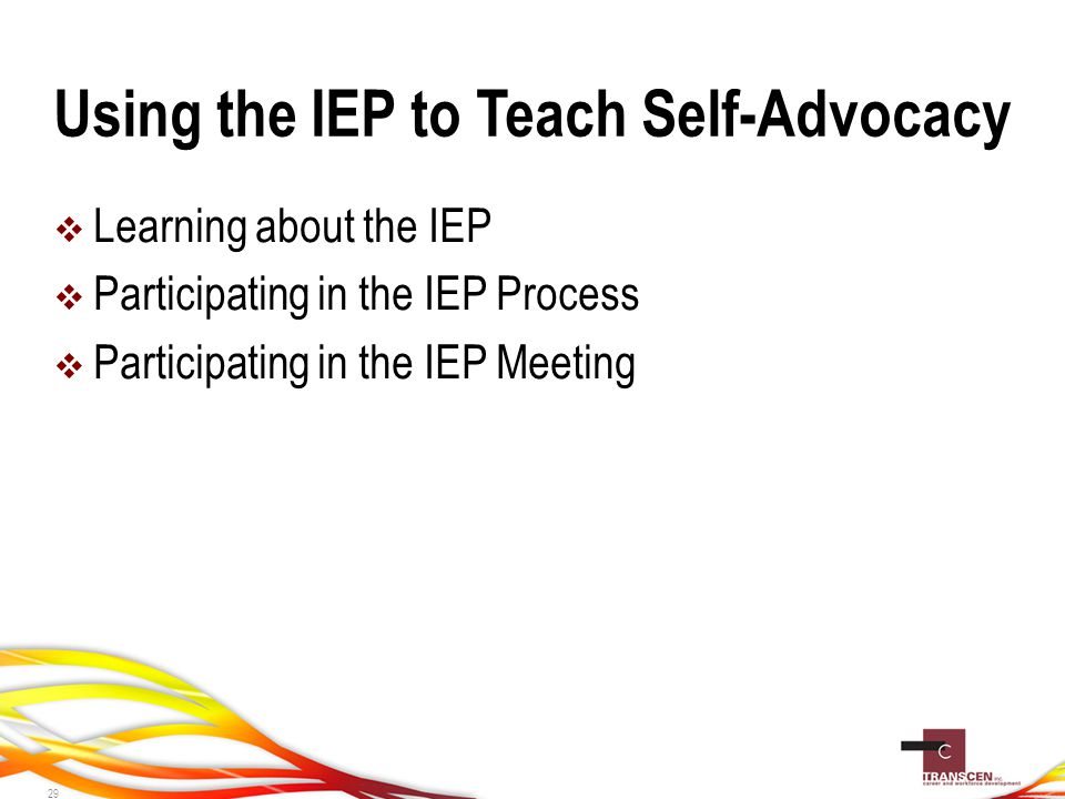 Using the IEP to Teach Self-Advocacy  Learning about the IEP  Participating in the IEP Process  Participating in the IEP Meeting 29