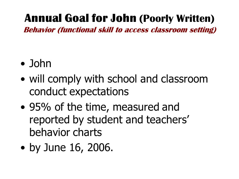 Annual Goal for John (Poorly Written) Behavior (functional skill to access classroom setting) John will comply with school and classroom conduct expectations 95% of the time, measured and reported by student and teachers' behavior charts by June 16, 2006.