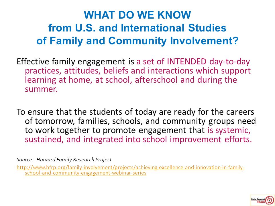 Effective family engagement is a set of INTENDED day-to-day practices, attitudes, beliefs and interactions which support learning at home, at school,