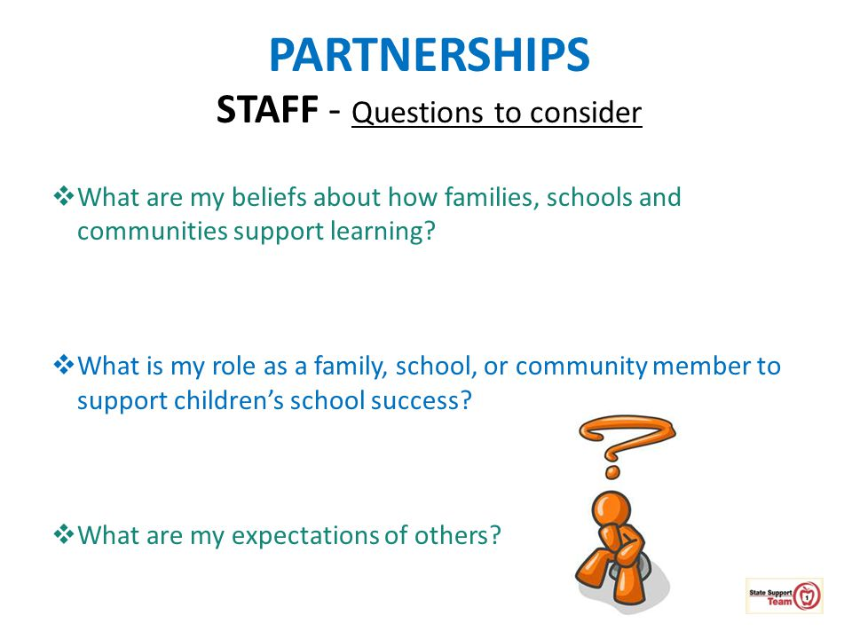 PARTNERSHIPS STAFF - Questions to consider  What are my beliefs about how families, schools and communities support learning?  What is my role as a