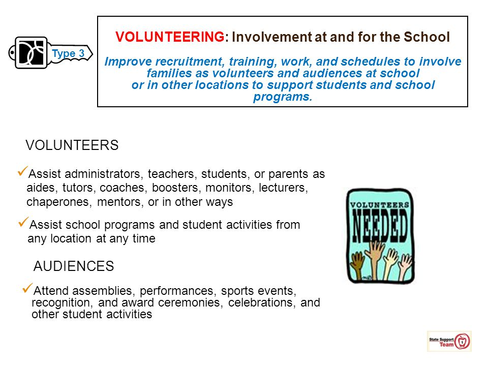 VOLUNTEERING: Involvement at and for the School Improve recruitment, training, work, and schedules to involve families as volunteers and audiences at