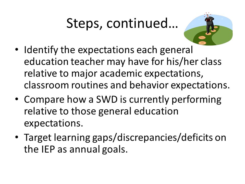 Steps, continued… Identify the expectations each general education teacher may have for his/her class relative to major academic expectations, classroom routines and behavior expectations.