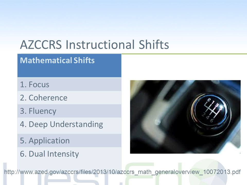 AZCCRS Instructional Shifts Mathematical Shifts 1. Focus 2. Coherence 3. Fluency 4. Deep Understanding 5. Application 6. Dual Intensity http://www.aze