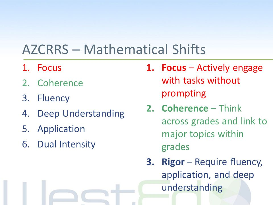 AZCRRS – Mathematical Shifts 1.Focus 2.Coherence 3.Fluency 4.Deep Understanding 5.Application 6.Dual Intensity 1.Focus – Actively engage with tasks without prompting 2.Coherence – Think across grades and link to major topics within grades 3.Rigor – Require fluency, application, and deep understanding