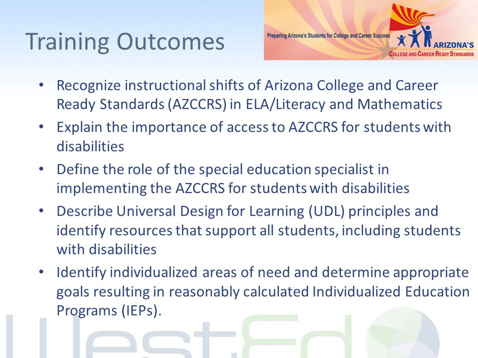 Training Outcomes Recognize instructional shifts of Arizona College and Career Ready Standards (AZCCRS) in ELA/Literacy and Mathematics Explain the im