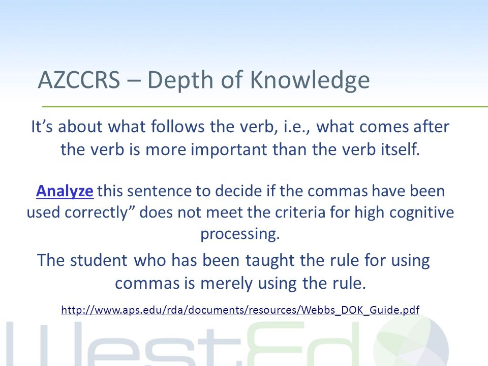 AZCCRS – Depth of Knowledge It's about what follows the verb, i.e., what comes after the verb is more important than the verb itself. Analyze this sen