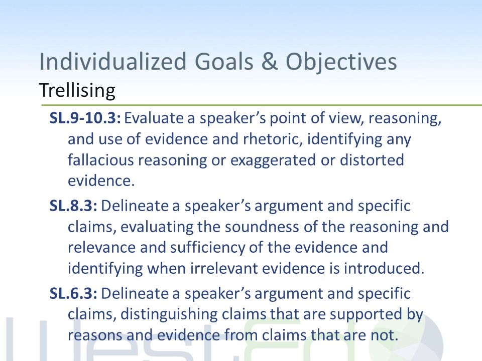 Individualized Goals & Objectives Trellising SL.9-10.3: Evaluate a speaker's point of view, reasoning, and use of evidence and rhetoric, identifying any fallacious reasoning or exaggerated or distorted evidence.