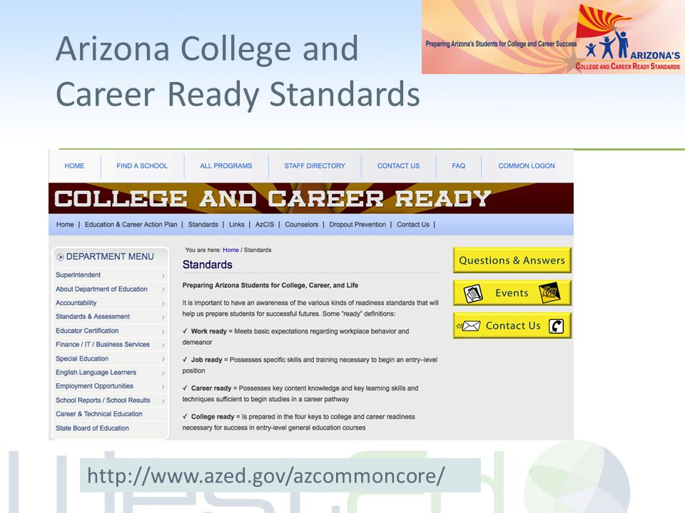 Arizona College and Career Ready Standards http://www.azed.gov/azcommoncore/