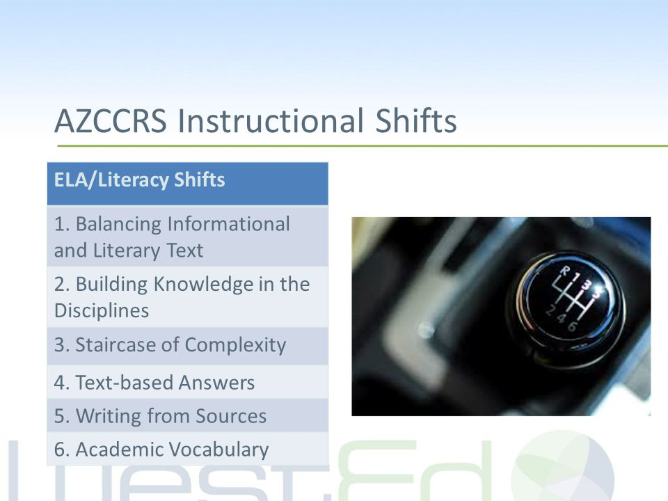 AZCCRS Instructional Shifts ELA/Literacy Shifts 1.