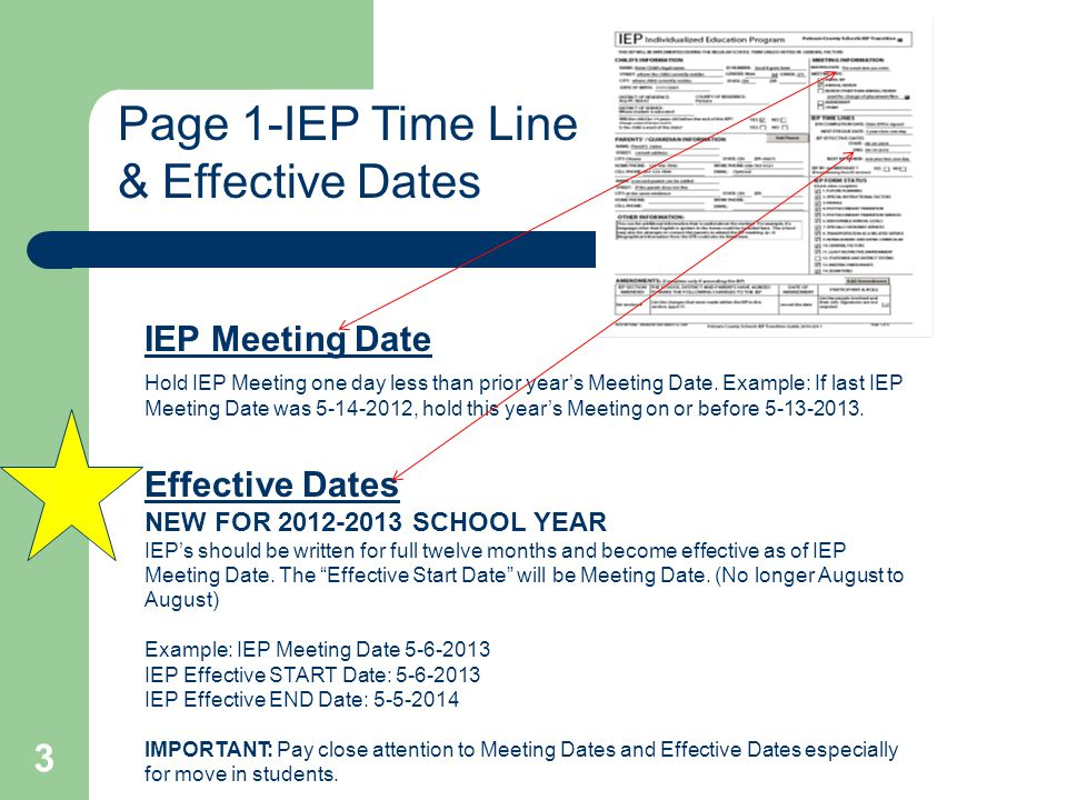Page 1-IEP Time Line & Effective Dates IEP Meeting Date Hold IEP Meeting one day less than prior year's Meeting Date.