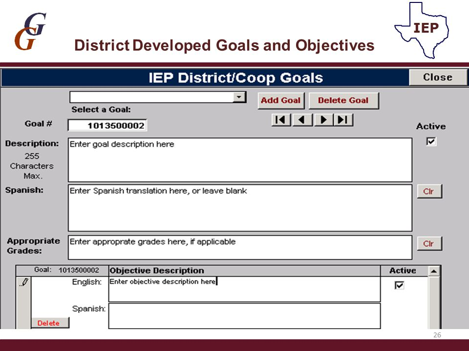 District Developed Goals and Objectives 26 IEP