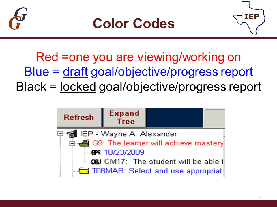 Red =one you are viewing/working on Blue = draft goal/objective/progress report Black = locked goal/objective/progress report Color Codes 7 IEP