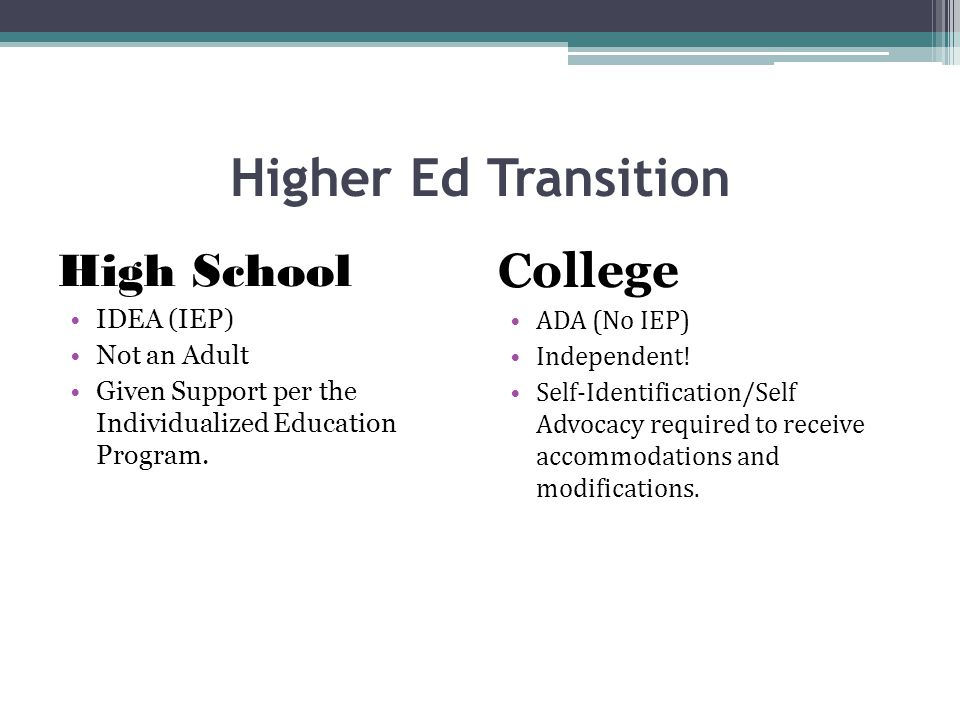 Higher Ed Transition High School IDEA (IEP) Not an Adult Given Support per the Individualized Education Program.