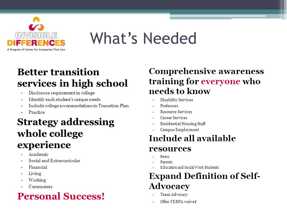 What's Needed Better transition services in high school Disclosure requirement in college Identify each student's unique needs Include college accommodations in Transition Plan Practice Strategy addressing whole college experience Academic Social and Extracurricular Financial Living Working Commuters Personal Success.