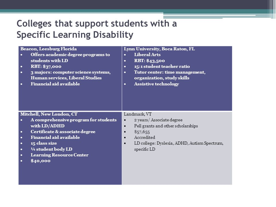 Colleges that support students with a Specific Learning Disability Beacon, Leesburg Florida  Offers academic degree programs to students with LD  RB