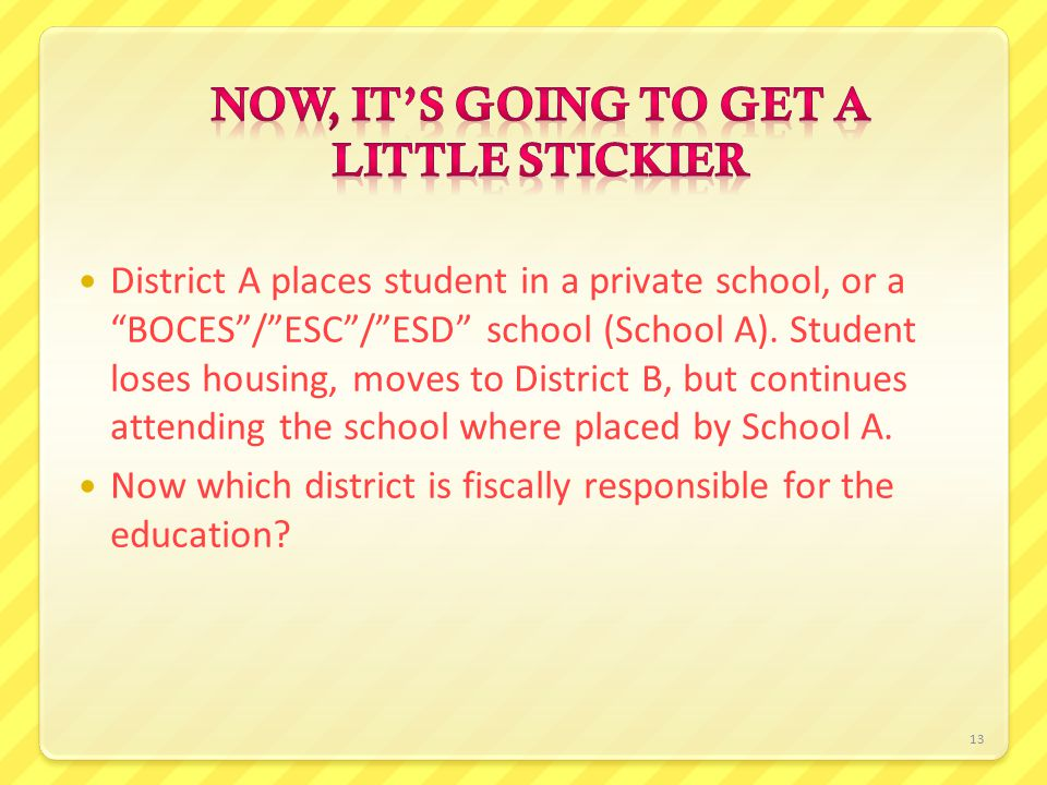 13 District A places student in a private school, or a BOCES / ESC / ESD school (School A).