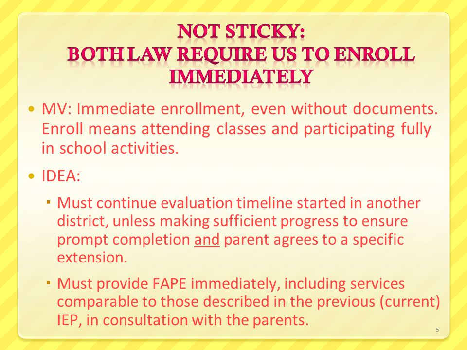 6 Child has an IEP in District A, loses housing, moves to and enrolls in District B.