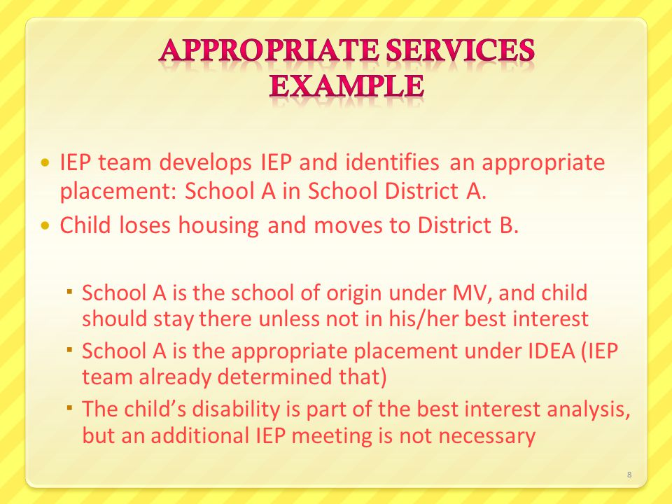 8 IEP team develops IEP and identifies an appropriate placement: School A in School District A. Child loses housing and moves to District B.  School