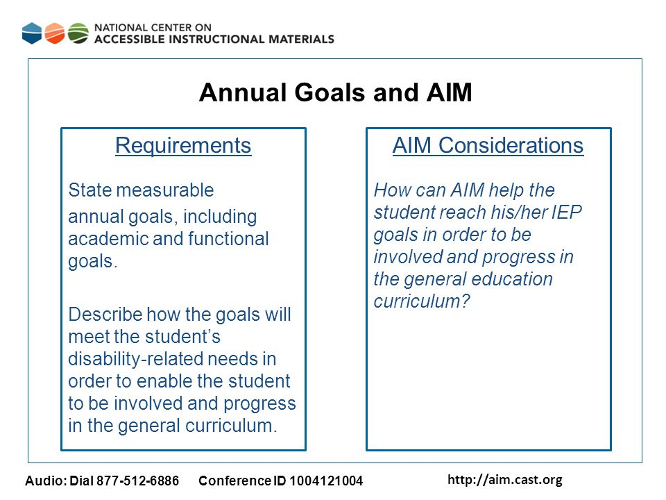 http://aim.cast.org Audio: Dial 877-512-6886 Conference ID 1004121004 Annual Goals and AIM Requirements State measurable annual goals, including acade