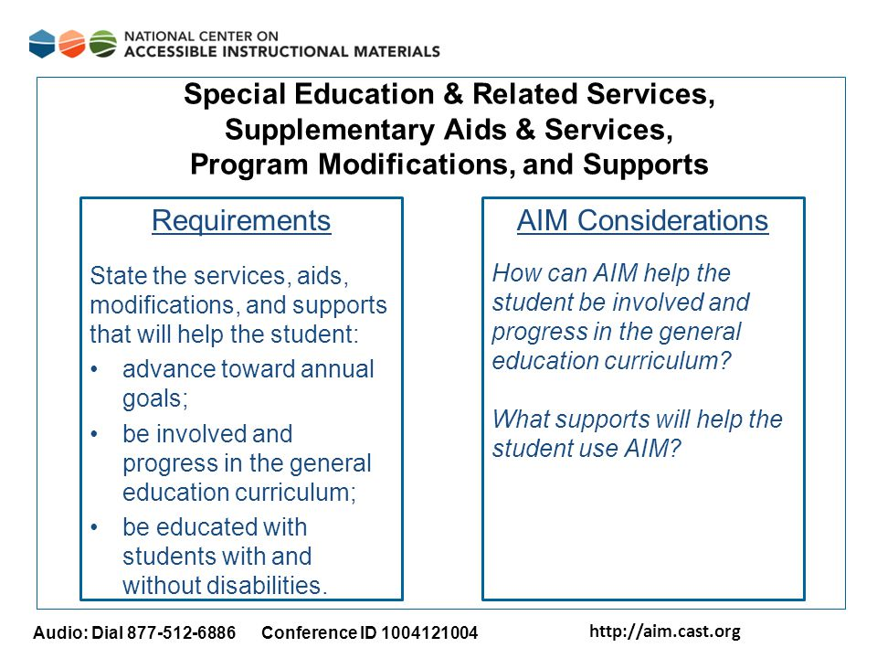 http://aim.cast.org Audio: Dial 877-512-6886 Conference ID 1004121004 Special Education & Related Services, Supplementary Aids & Services, Program Mod