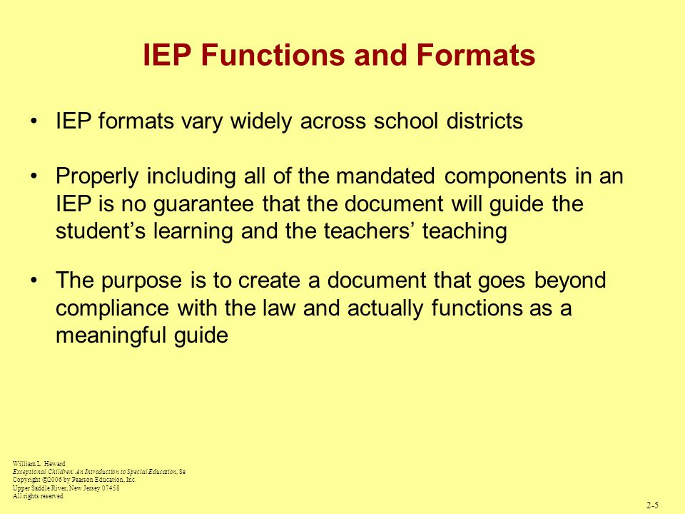 IEP Functions and Formats IEP formats vary widely across school districts Properly including all of the mandated components in an IEP is no guarantee